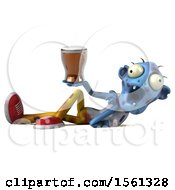 Clipart Of A 3d Blue Zombie Holding A Beer On A White Background Royalty Free Illustration by Julos