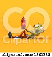 Clipart Of A 3d Zombie Holding A Soda On A Yellow Background Royalty Free Illustration by Julos