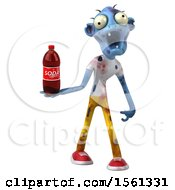 Clipart Of A 3d Blue Zombie Holding A Soda On A White Background Royalty Free Illustration by Julos