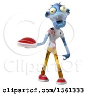 Clipart Of A 3d Blue Zombie Holding A Steak On A White Background Royalty Free Illustration by Julos