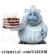 Poster, Art Print Of 3d White Monkey Yeti Holding A Birthday Cake On A White Background