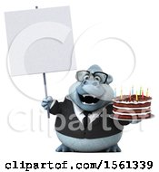 Poster, Art Print Of 3d Business Yeti Holding A Birthday Cake On A White Background