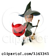 Clipart Of A 3d Sexy Green Witch Holding A Devil On A White Background Royalty Free Illustration