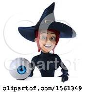 Clipart Of A 3d Sexy Blue Witch Holding An Eye On A White Background Royalty Free Illustration