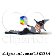 Clipart Of A 3d Sexy Blue Witch Holding Books On A White Background Royalty Free Illustration