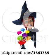 Clipart Of A 3d Sexy Blue Witch Holding Messages On A White Background Royalty Free Illustration by Julos