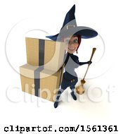 Clipart Of A 3d Sexy Blue Witch Holding Boxes On A White Background Royalty Free Illustration by Julos