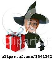 Clipart Of A 3d Sexy Green Witch Holding A Gift On A White Background Royalty Free Illustration by Julos