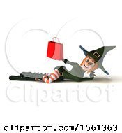 3d Sexy Green Witch Holding A Shopping Bag On A White Background