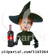 Clipart Of A 3d Sexy Green Witch Holding Wine On A White Background Royalty Free Illustration by Julos