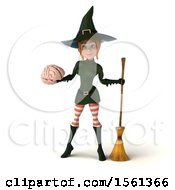 Clipart Of A 3d Sexy Green Witch Holding A Brain On A White Background Royalty Free Illustration by Julos