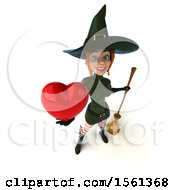 Clipart Of A 3d Sexy Green Witch Holding A Heart On A White Background Royalty Free Illustration by Julos