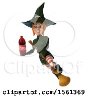 Clipart Of A 3d Sexy Green Witch Holding A Soda On A White Background Royalty Free Illustration by Julos