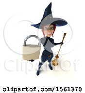 Clipart Of A 3d Sexy Blue Witch Holding A Padlock On A White Background Royalty Free Illustration by Julos