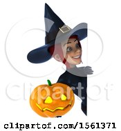 Clipart Of A 3d Sexy Blue Witch Holding A Jackolantern On A White Background Royalty Free Illustration by Julos