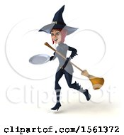 Clipart Of A 3d Sexy Blue Witch Holding A Plate On A White Background Royalty Free Illustration by Julos