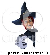 Clipart Of A 3d Sexy Blue Witch Holding A Euro On A White Background Royalty Free Illustration by Julos