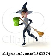 Clipart Of A 3d Sexy Blue Witch Holding A Recycle Bin On A White Background Royalty Free Illustration by Julos