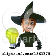 Poster, Art Print Of 3d Sexy Green Witch Holding A Light Bulb On A White Background