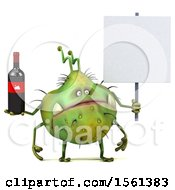 Clipart Of A 3d Green Germ Monster Holding Wine On A White Background Royalty Free Illustration