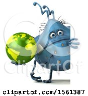 Clipart Of A 3d Blue Germ Monster Holding A Globe On A White Background Royalty Free Illustration