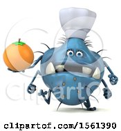 Clipart Of A 3d Blue Chef Germ Monster Holding An Orange On A White Background Royalty Free Illustration