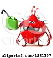 Clipart Of A 3d Red Germ Monster Holding A Gas Can On A White Background Royalty Free Illustration