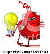 Poster, Art Print Of 3d Red Germ Monster Holding A Light Bulb On A White Background