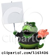 Clipart Of A 3d Green Business T Rex Dinosaur Holding A Piggy Bank On A White Background Royalty Free Illustration