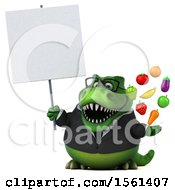 Clipart Of A 3d Green Business T Rex Dinosaur Holding Produce On A White Background Royalty Free Illustration
