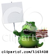 Clipart Of A 3d Green T Rex Dinosaur Holding A Birthday Cake On A White Background Royalty Free Illustration