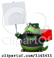 Clipart Of A 3d Green Business T Rex Dinosaur Holding A Shopping Bag On A White Background Royalty Free Illustration