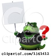 Clipart Of A 3d Green Business T Rex Dinosaur Holding A Question Mark On A White Background Royalty Free Illustration