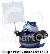Clipart Of A 3d Blue Business T Rex Dinosaur Holding A Camera On A White Background Royalty Free Illustration