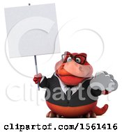 Clipart Of A 3d Red Business T Rex Dinosaur Holding A Cloud On A White Background Royalty Free Illustration