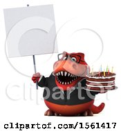 Clipart Of A 3d Red Business T Rex Dinosaur Holding A Birthday Cake On A White Background Royalty Free Vector Illustration