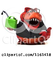 Clipart Of A 3d Red Business T Rex Dinosaur Holding A Gas Can On A White Background Royalty Free Illustration