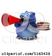 Clipart Of A 3d Blue T Rex Dinosaur Holding A Birthday Cake On A White Background Royalty Free Illustration