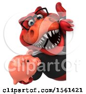 Clipart Of A 3d Red Business T Rex Dinosaur Holding A Piggy Bank On A White Background Royalty Free Illustration