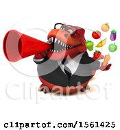 Clipart Of A 3d Red Business T Rex Dinosaur Holding Produce On A White Background Royalty Free Illustration