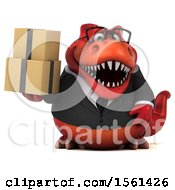 Clipart Of A 3d Red Business T Rex Dinosaur Holding Boxes On A White Background Royalty Free Illustration