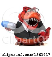 Clipart Of A 3d Red Business T Rex Dinosaur Holding A Pill On A White Background Royalty Free Illustration