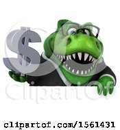 Clipart Of A 3d Green Business T Rex Dinosaur Holding A Dollar Sign On A White Background Royalty Free Illustration