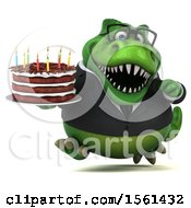 Clipart Of A 3d Green Business T Rex Dinosaur Holding A Birthday Cake On A White Background Royalty Free Illustration