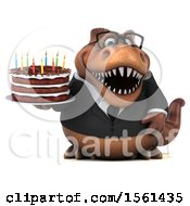 Clipart Of A 3d Brown Business T Rex Dinosaur Holding A Birthday Cake On A White Background Royalty Free Illustration