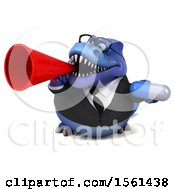 Clipart Of A 3d Blue Business T Rex Dinosaur Holding A Pill On A White Background Royalty Free Illustration