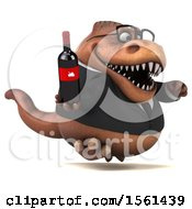 Clipart Of A 3d Brown Business T Rex Dinosaur Holding Wine On A White Background Royalty Free Illustration
