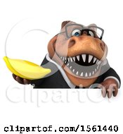 Clipart Of A 3d Brown Business T Rex Dinosaur Holding A Banana On A White Background Royalty Free Illustration