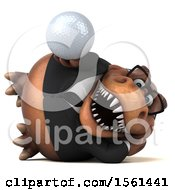 Clipart Of A 3d Brown Business T Rex Dinosaur Holding A Golf Ball On A White Background Royalty Free Illustration