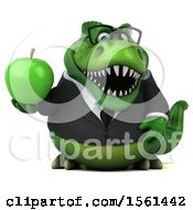 Clipart Of A 3d Green Business T Rex Dinosaur Holding An Apple On A White Background Royalty Free Illustration